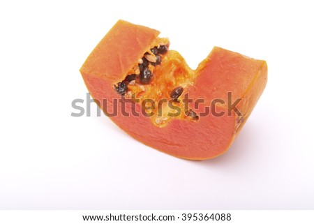 papaya and slice isolated on white background - stock photo