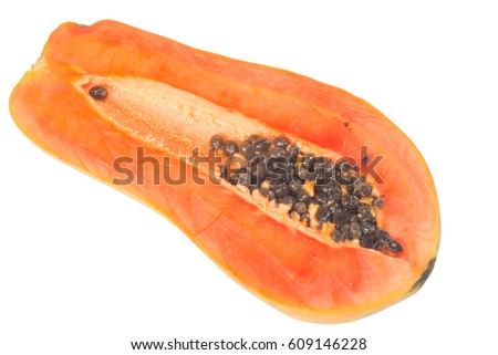 Papaya cut in half isolate on white