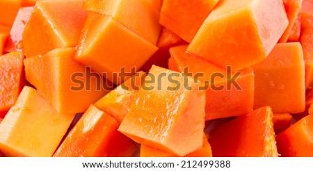 Papaya fruit close up view - stock photo