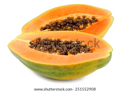 papaya fruit  isolated on white - stock photo