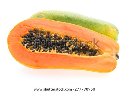 Papaya fruit isolated on white background