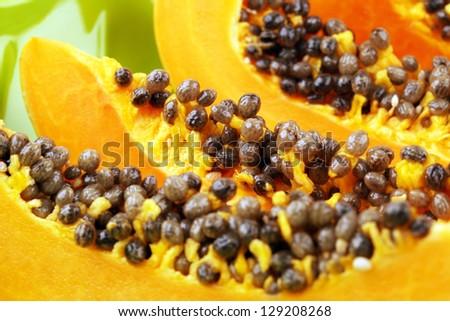 Papaya fruit sliced isolated on a white background - stock photo