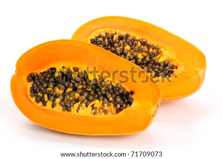 Papaya fruit sliced on half isolated on a white background. - stock photo
