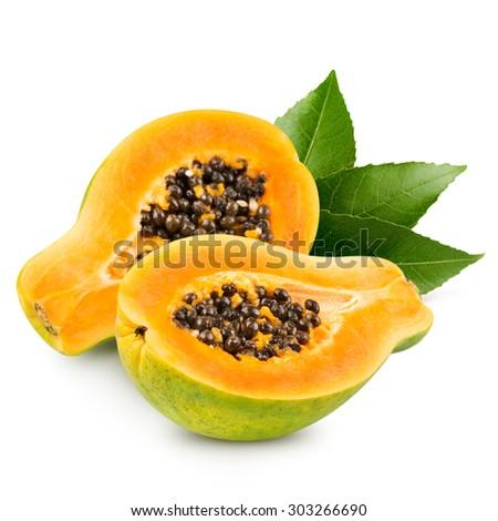 Papaya isolated on white background - stock photo