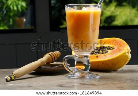 Papaya juice - stock photo