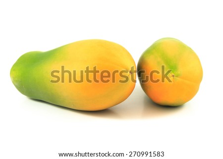 Papaya on the white background
