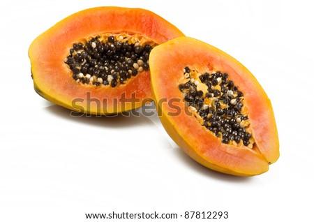 Papaya on the white background - stock photo