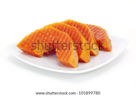 Papaya on white plate