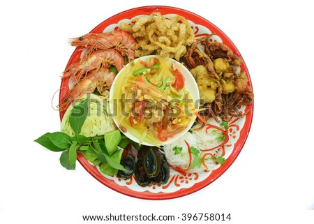 papaya salad,Seafood.