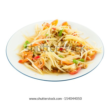 Papaya salad (Som Tam) Thai cuisine spicy delicious on white - stock photo
