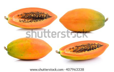 papaya slice on white background