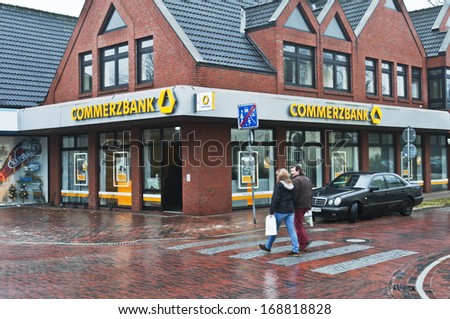 PAPENBURG, GERMANY - DECEMBER 14: COMMERCBANK and logo in Papenburg, Germany on December 14, 2013.
