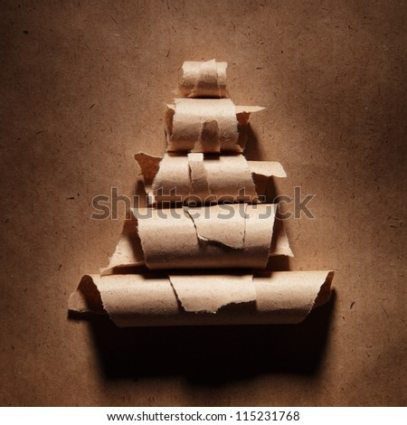 Paper abstract christmas-tree - stock photo