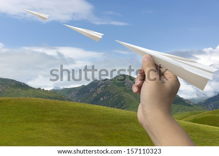 Paper airplane blue grass
