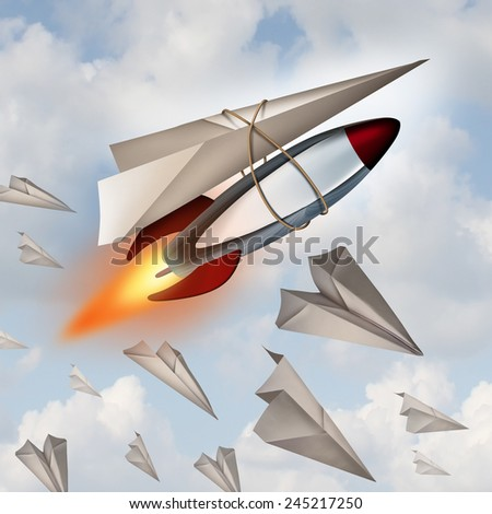 Paper airplane concept as a metaphor for increasing potential as a plane made from a white sheet with a rocket ship attached as a symbol for a winning business strategy. - stock photo