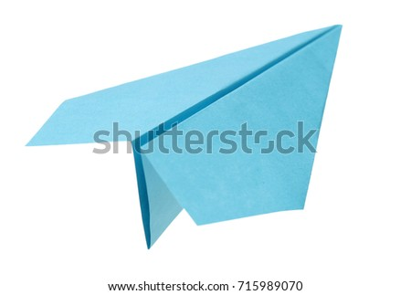 Paper airplane flying on white background