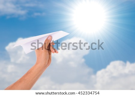 Paper airplane freedom for think and creative with your hand