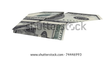 paper airplane from the dollars on a white background