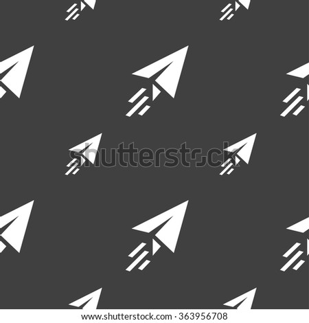 Paper airplane icon sign. Seamless pattern on a gray background. illustration - stock photo