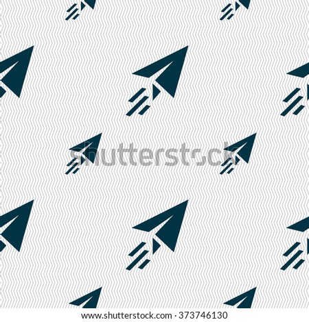 Paper airplane icon sign. Seamless pattern with geometric texture. illustration - stock photo