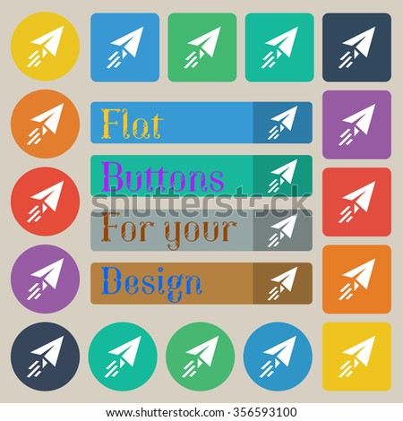 Paper airplane icon sign. Set of twenty colored flat, round, square and rectangular buttons. illustration - stock photo