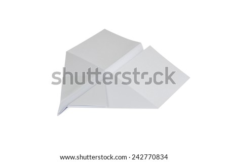 Paper Airplane in swallow shape isolated on white background - stock photo