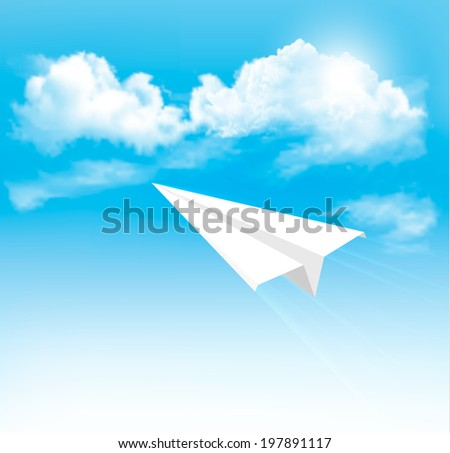 Paper airplane in the sky with clouds.