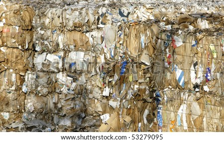 paper and cardboard at the recycle plant - stock photo