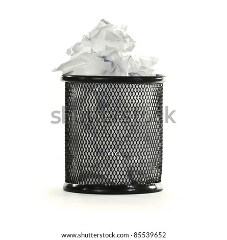 paper and garbage bin over white - stock photo