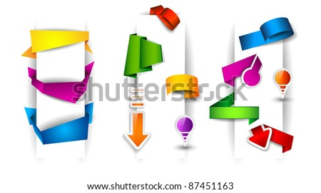 Paper and origami style tags collection: stickers, arrow tags, circular tags, pins, origami ribbons, origami cliparts and so on. - stock photo