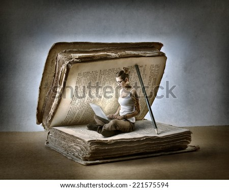 Paper and technology  - stock photo