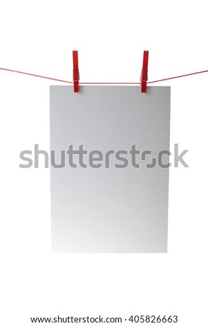 paper attach to rope with clothes pins