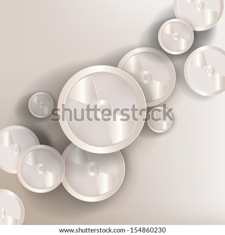 paper background with compact disk web icon,flat design - stock photo