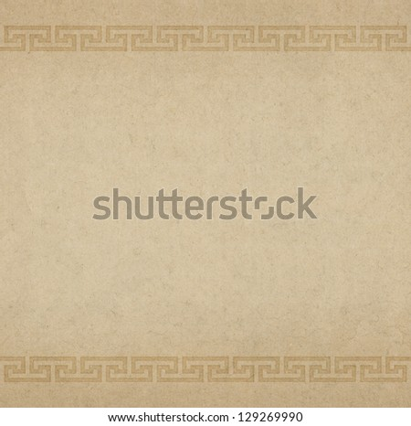Paper background with Greek ornament - stock photo