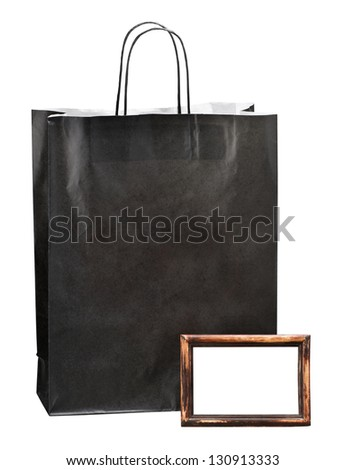 paper bag for shopping and photoframe with space for text