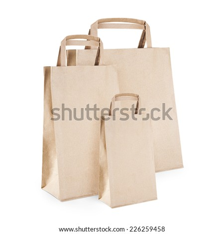 Paper Bag group isolated on white.
