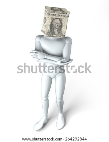 Paper bag head dollar - Dollar bag over figurine head, rendering, isolated on white background - stock photo