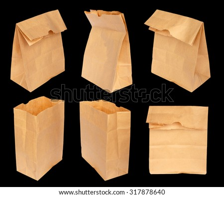 Paper bag isolated on black background