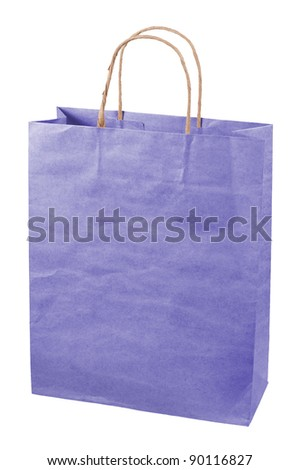 Paper bag isolated on white background. - stock photo