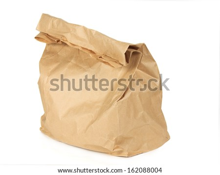 Paper bag isolated on white background. Closeup