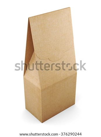 Paper bag isolated on white background. 3d rendering. - stock photo