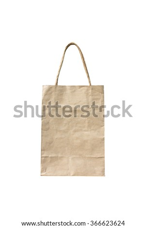 paper bag isolated on white background,paper bag reduce global warming