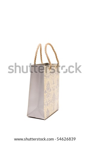 paper bag isolated on white close up look - stock photo