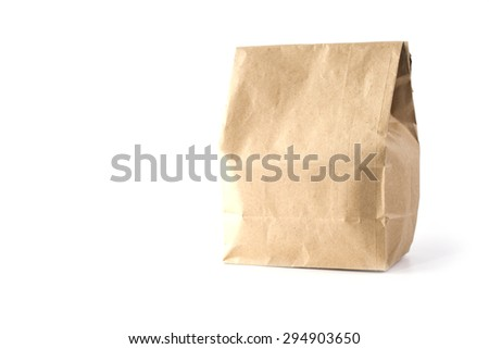 paper bag on a white background - stock photo