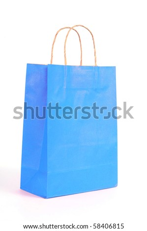 paper bag ready for shopping, isolated on white background - stock photo