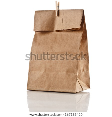 paper bag with clip  isolated on white background - stock photo