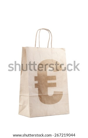 Paper bag with Euro sign - stock photo