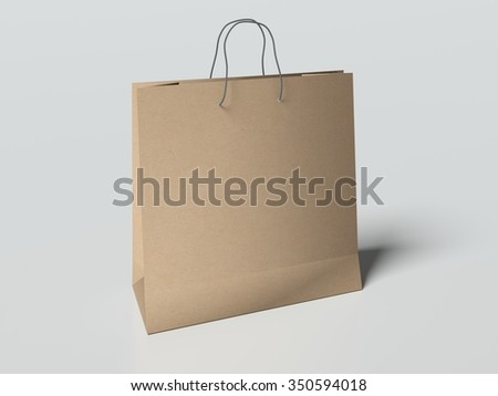 Paper bag with handles on the light gray background. mock up. 3d render