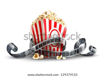paper bag with popcorn and movie reel. Rasterized illustration. Vector version also available in my gallery. - stock photo