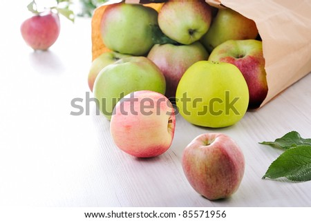Paper bag with red green apples - stock photo